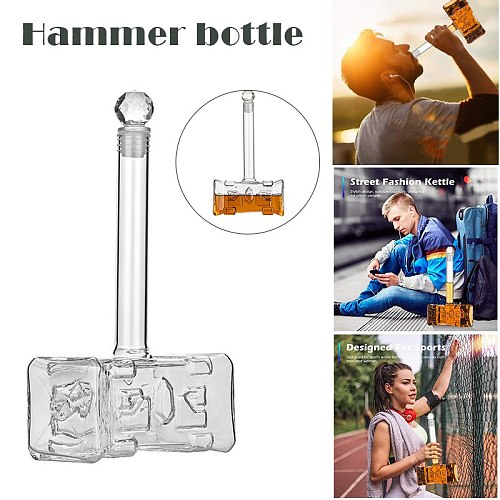 400ml Thors Hammer Glass Wine Bottle Creatives Vodkas Jug for Bar DC156