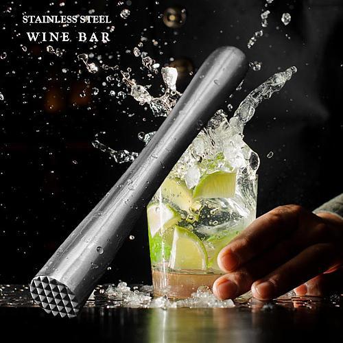 Durable Stainless Steel Wine Mixing Stick Muddler Cocktail Stirrer Shaker Ice Crusher Comfortable Grip Barware Tool