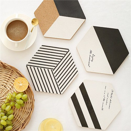5PCS Simple Black White Wood Drink Coaster Coffee Cup Mat Tea Pad Dining Fashion Soft Wooden Placemats Decoration Accessories