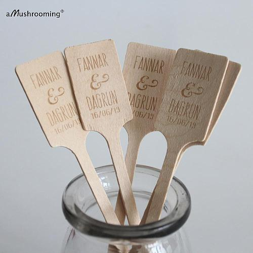 50pcs Custom Engraved Bridal Shower Wooden Sticks Bomboniere Favors Name Date Personalized Table Decor Coffee Drinking Stirrers