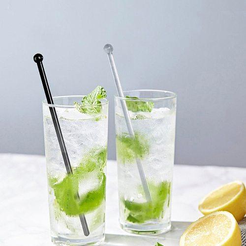 12PCS Clear+Black Plastic Cocktail Swizzle Sticks Drink Wine Beverage Stirrer Coffee Muddler Puddler KTV Bar Decration ECO