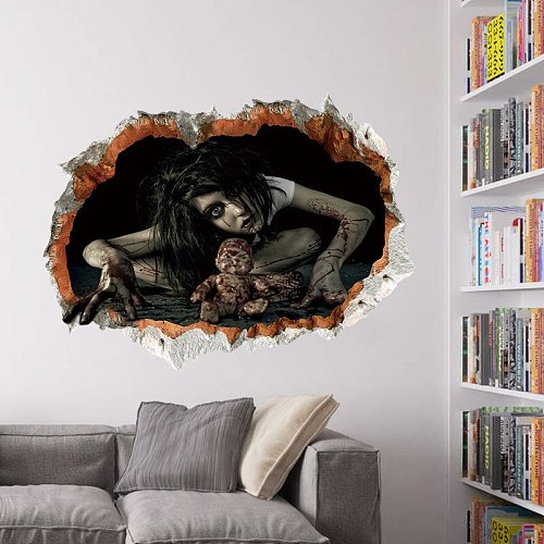 1pcs/lot  Cross border 1499 Halloween wall pasted bedroom living room decorates the wall plaster waterproof wall
