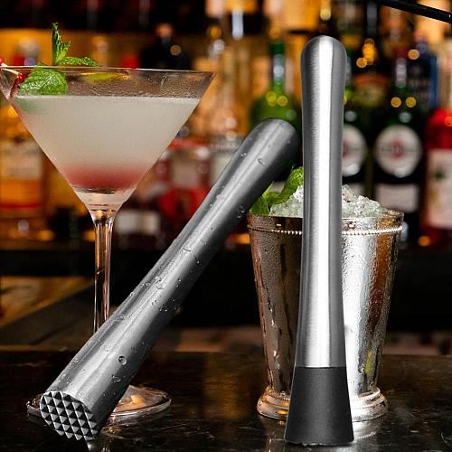 Metal Squeezer Stainless Steel Wine Mixing Stick Cocktail Shaker Ice Crusher Barware Tool Handle Press Multifunctional Bar Tool