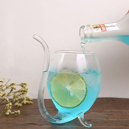 Wine Whiskey Glass Heat Resistant Glass Sucking Juice Milk Cup Tea Wine Cup with Drinking Tube Straw Cocktail  Water Bottle
