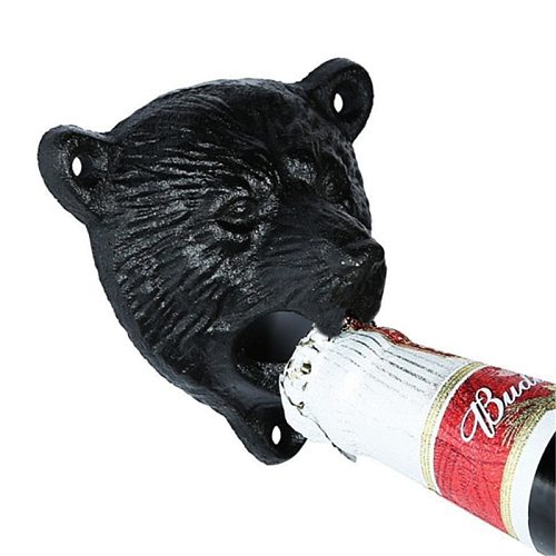 Vintage Cast Iron Bear Design Beer Soda Top Opener Wall Mounted Glass Bottle Cap Opener Durable Kitchen Bar Openers Tools