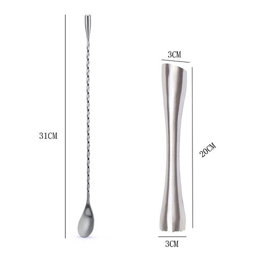 UPORS Stainless Steel Cocktail Muddler Barware Set Classic Cocktail Sticks + Bar Spoon Cocktail Accessories Bar Tools 8 inch