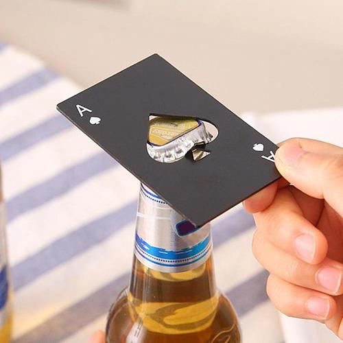 1/5 PCS Black Poker Card Spades Beer Personalized Bottle Opener Personalized Stainless Steel Credit Card Bottle Opener Bar Tool