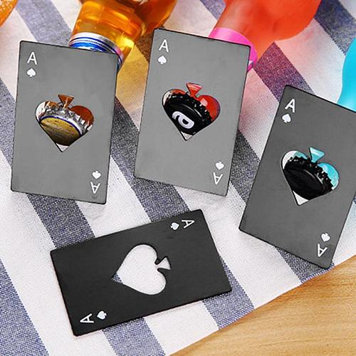 Beer Bottle Opener Black Poker Card Spades Personalized Stainless Steel Bottle Opener Bar Tool Kitchen Accessories