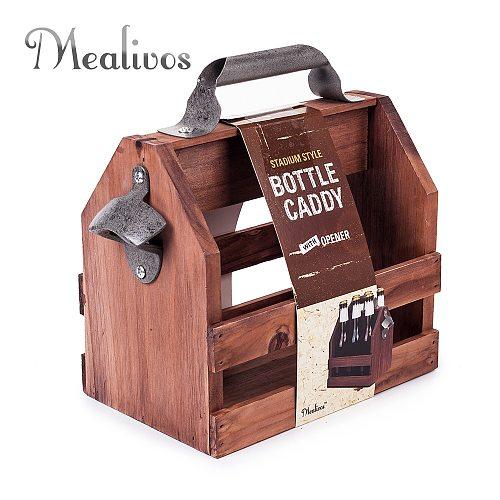 Bar Tool stainless steel beer bottle opener funny wooden Wine baskets Beer Caddy