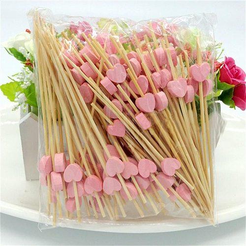 100pcs12cm Heart Bamboo Food Picks Buffet Cupcake Fruit Fork Party Cake Dessert Salad Vegetable Sticks Cocktail Toothpick Skewer