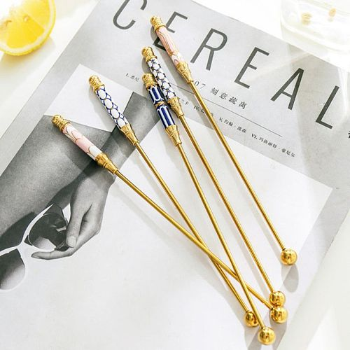 Long Handle Stainless Steel Stirring Rod Gold-plated Coffee Beverage Stirrers Stir Cocktail Drink Swizzle Stick Kitchen Supplies