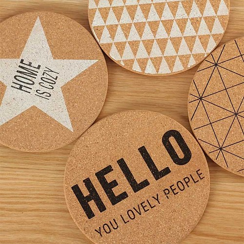 5PCS Nordic Style Corkwood Geometry Letter Dish Mat Concise Placemat For Dining Table Stand Under The Hot Pads Chancery Coasters