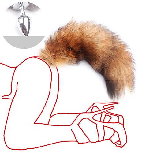 Shipping Real Red Fox Tail Anal Plug Metal Butt Plug Animal Cosplay Tail Erotic Sex Toy for Couple Tail SM Sex Toy Adult Games