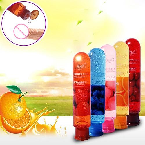 80ML Peach/Strawberry/Blueberry/Cherry/Orange Edible Flavor Water Based Lubricant Sex Anal Oral Gel Sex Lube for Couple Adult