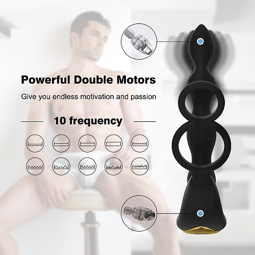 Double Motors Wireless Remote Control Anal Plug Vibrator For Men Prostate Massager Patterns Butt Silicone Sex Toys for Adult Gay