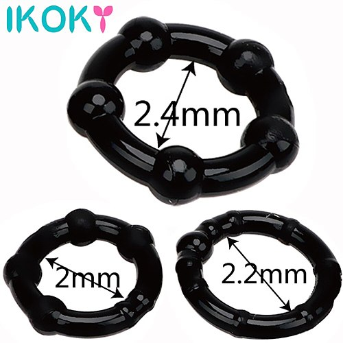 IKOKY 3 pcs/set Cock Ring Penis Sleeve Sex Products Silicone Black/White Sex toys for Men Male Penis Ring Delay Ejaculation