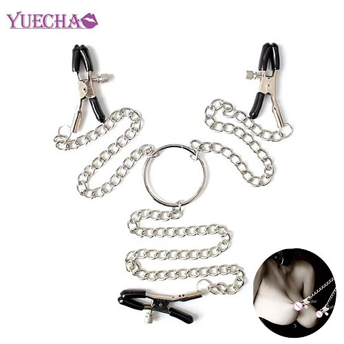 YUECHAO Woman Sexy Three Metal Nipple Clamps male nipple clip With Chain Labia Breast sex Nipple Clamps Exotic bra Accessories