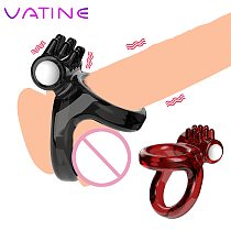 VATINE Penis Ring Vibrator Cock Ring Couple Lover Sex Toys for Men  Time Delay Ring Soft Silicone Sexy Dual Ring