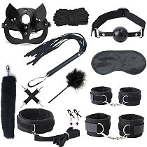 Blacak Wolf Exotic Sex Products For Adults Games Bondage Set BDSM Kits Handcuffs Sex Toys Whip Gag Tail Plug Women Accessories