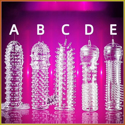 Reusable Condoms Silicone 5 Types Time Delay Crystal Spike Braces Male Penis Extension Sleeves Cock Rings Adult Sex Toys for Men
