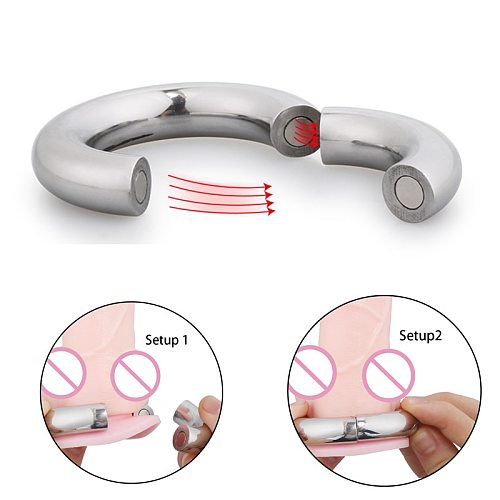 304 Stainless Steel Heavy Duty Male Magnetic Ball Scrotum Stretcher Penis Cock Lock Ring Delay Ejaculation BDSM Sex Toy For Man