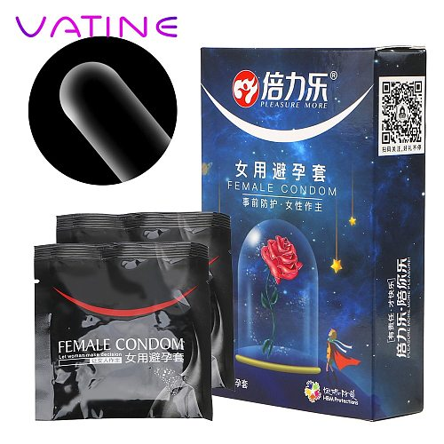 VATINE 2 Pcs/Box Ultra-thin Female Condom Penis Sleeve Cock Sleeves For Sex Intimate Products Condoms For Women Contraceptives