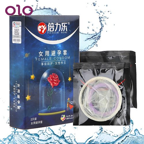 OLO 2 Pcs/Box Ultra-thin Female Condom Contraceptives For Sex Intimate Products Penis Sleeve Cock Sleeves Condoms For Women