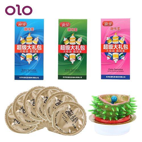 OLO 6pcs/set Spike Condom G-Spot Vagina Stimulating Penis Sleeve Safe Contraception Adult Products Sex Toys For Men Random Color