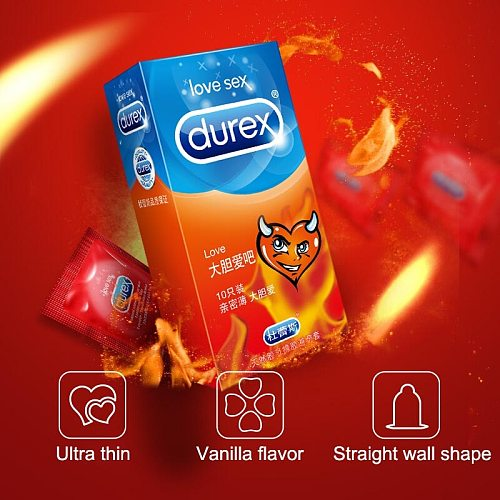Durex Condoms For Men Love Ultra Thin Lubricated Penis Cock Sleeve Natural Rubber Condom Sex Toy for Adult Intimate Products