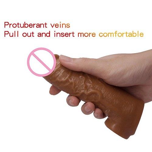 High Elastic Realistic Condom Reusable Penis Extender Sleeve Delay Ejaculation Penis Enlargement Intimate Goods Sex Toys For Men