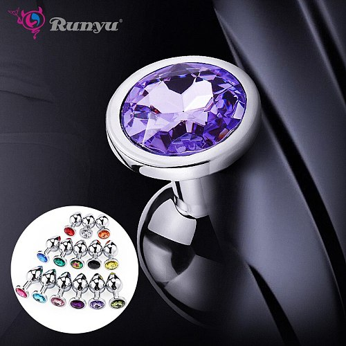 Anal Plug Sex Toys Stainless Small Steel Butt Plug Tail Crystal Jewelry Trainer For Women/Man Anal Dildo Runyu Adults Sex Shop