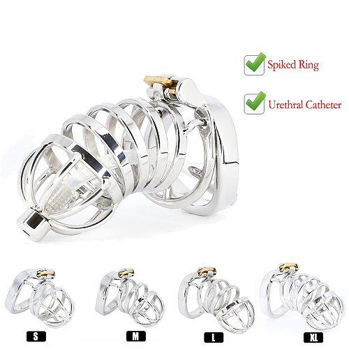 Best CBT Male Chastity Belt Device Stainless Steel Cock Cage Penis Ring Lock with Urethral Catheter Spiked Ring Sex Toys For Men