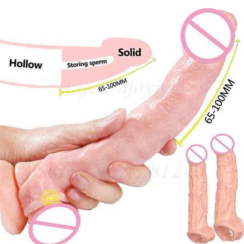 Extra Long Penis Sleeve Penis Extender Cock Rings Enlargement Reusable Condoms For Men Silicone Dildo Delay Ejaculation Sex Toys