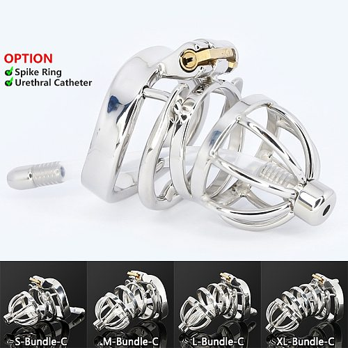 Male Stainless Steel Cock Cage Penis Ring Sleeve Chastity Device Belt with Catheter Spikes Lockable Adult Sex Toys for Men