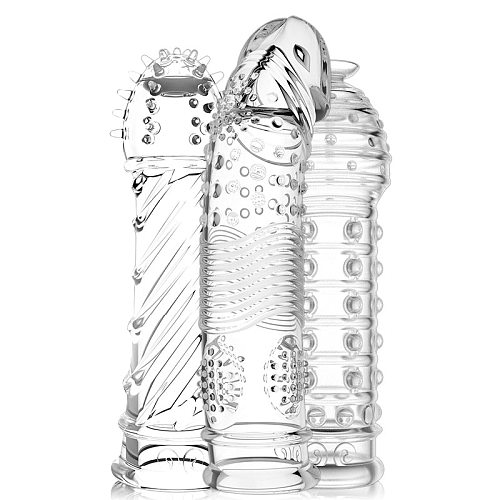 Crystal Transparent Penis Sleeve Reusable Extend Penis Condoms Delay G-spot Stimulate Erotic Intimate Goods Products for Men