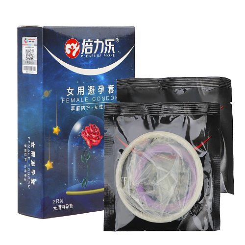 IKOKY 2 Pcs Female Condom Adult Products Ultra-thin For Sex Intimate Goods Safe Condoms For Women Penis Sleeve Cock Sleeves