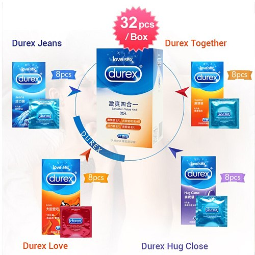 Durex Condom 100/64/32 Pcs Set 4 Types Natural Latex Rubber Lubricated Contraception cock ring Condoms Sexual Toys Goods For Man