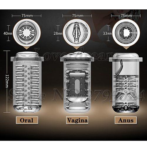3 Types Vagina Anus Oral Inner Part Telescopic Male Masturbator Cup Interior Replacement Accessory Sex Toys for Men