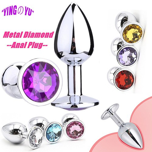 Bling Diamond Metal Anal Plug Toy Stainless Steel Butt Plug Tail Crystal Jewelry Trainer Sex Toys For Women Man Adult Anal Dildo