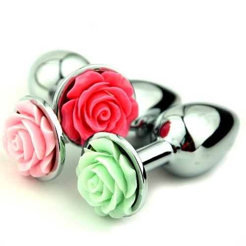 Rose Flower Anal Plug For Men And Women  Masturbator Adult Sex Goods Stainless Steel Butt  Toys  Adults  Products