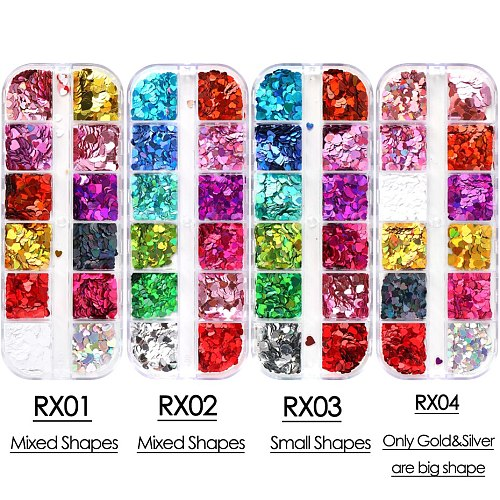 12 Grids Sweet Love Heart Nail Glitter Sequins Rose Gold Silver Shining Laser Nail Art Paillette Manicure Decorations JIRX01-04