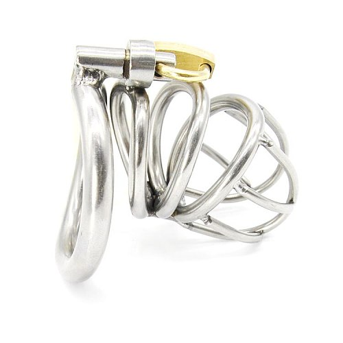 Stainless Steel Small Male Chastity device Adult Cock Cage With Curve Cock Ring Sex Toys Bondage Chastity belt A224-1