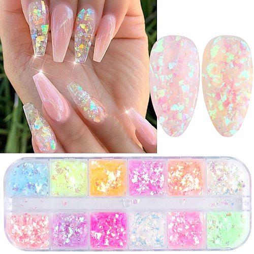 12 Grids 3D Fluorescent Nail Glitter Flakes Holographic Powder Sequins Paillette Manicure Nail Art Pigment Decoration Tools GLSP