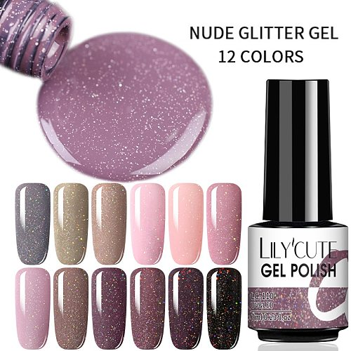 LILYCUTE 7ml Nude Pink Glitter UV Gel Rose Gold Colorful Shining Sequins Nails Gel Base Top Coat Soak Off UV Gel Nail Art Design