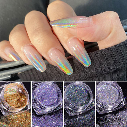 1Box Laser Nail Glitter Holographic Powder for Nails Mirror Polishing Chrome Pigments Shimmer Dip Powders Nail Art Decorations