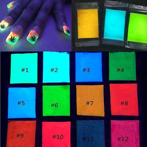 Bulk Glow in the Dark Powder - 10 g 12 colors LONGEST lasting glow in dark powder Nail Dust Fluorescent Effect Luminous Powder