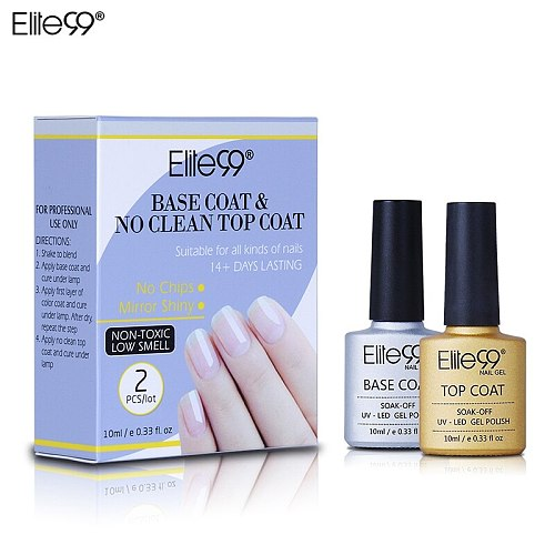 Elite99 2 pieces/lot Base Coat + No Clean Top Coat UV Gel Varnish With Gift Box 10ml Soak off Top Base Nail Primer Foundation