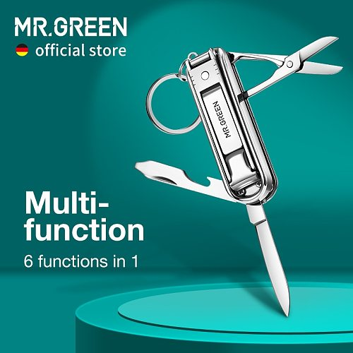 MR.GREEN Multifunctional Nail Clipper Stainless Steel Six Functions Nail Files Bottle Opener Small Knife Scissors Nail Cutter