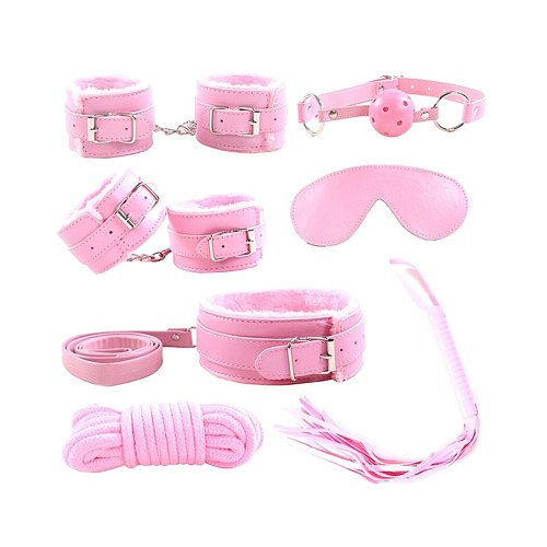 7 Pieces/Set Collar Furry Fuzzy Bed Bondage Gear Restraint Set Kit Ball Gag Cuff Whip Sexy 2019 Products Sex Toys For Lovers