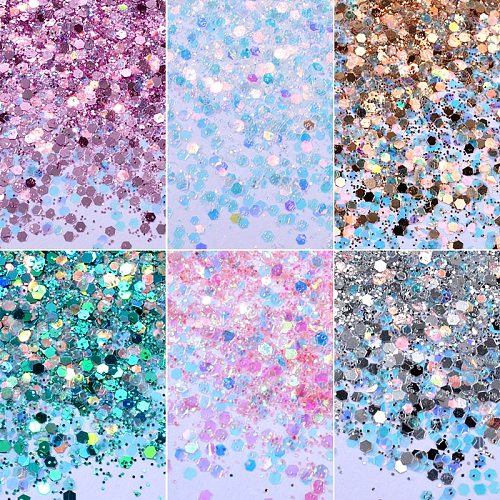 6boxes/set Laser Mixed Nail Glitter Powder Sequins Shinning Colorful Nail Flakes 3d DIY Charm Dust For Nail Art Decorations